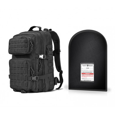 "Military Tactical Backpack, Large 3 Day Assault Pack with 12 x 18"" Level IIIA Ballistic Shield (Black)"