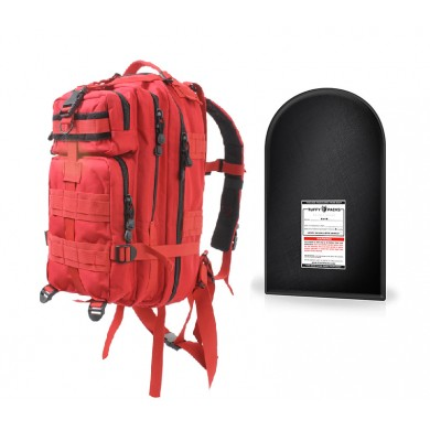 "Medium Transport Pack with 9 x 16"" Level IIIA Ballistic Shield (Red)"